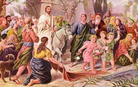 Yesus naik keledai menuju Yerusalem